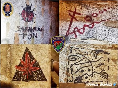 Pintadas realizadas en el Albaicín (POLICIA LOCAL)