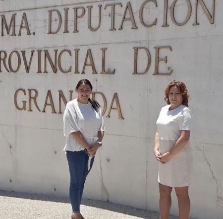Alejandra Durán y Mari Carmen Pérez tras el pleno de Diputación (ADELANTE)